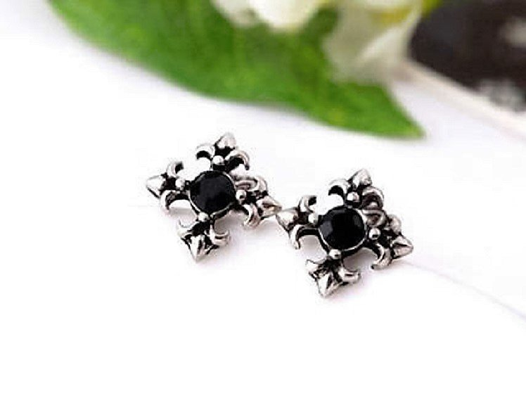 Vintage Antique Silver Retro Crystal Flowers Cross Stud Earrings