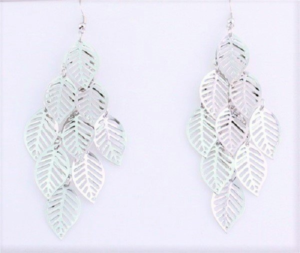 Silver Plated Bohemian Fringed Multilayer Hollow Leaf Dangle Earrings