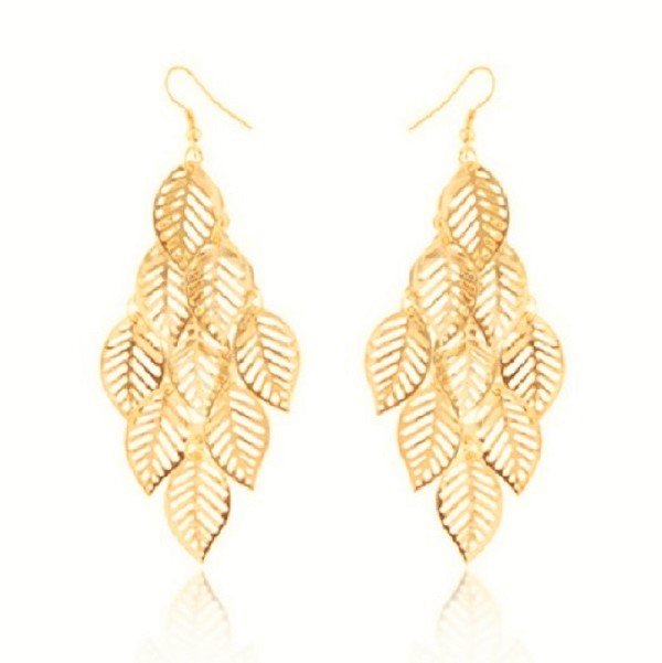 Gold Plated Bohemian Fringed Multilayer Hollow Leaf Dangle Earrings