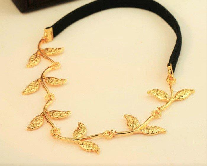 Elegant Greek Goddess Fashion Style Metal Gold Plated Olive Leaf Headband