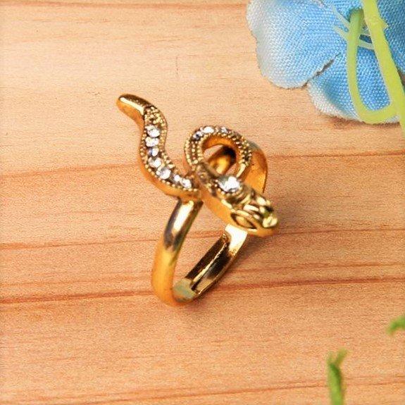 Chic Vintage Retro Bronze Crystal Snake Adjustable Finger Ring