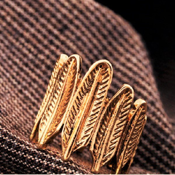 Classic Chic Fashion Punk Retro Antique Bronze Gold Plated Leaf Feather Style Ring