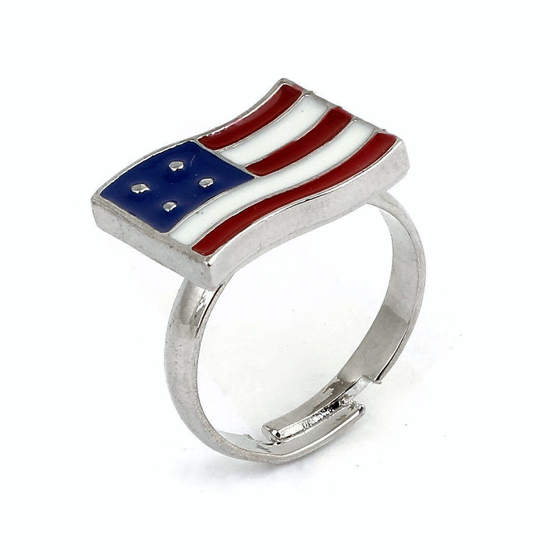 Silver Plated American National USA Flag Ring Adjustable Ring