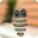 Fashion Retro Antique Bronze Vintage Style Owl Long Chain Pendant Necklace