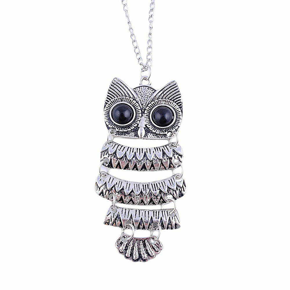 Fashion Retro Antique Silver Vintage Style Owl Long Chain Pendant Necklace