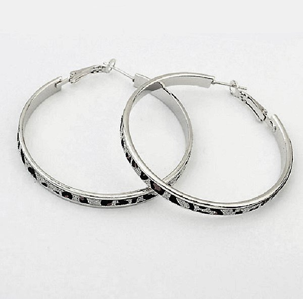Beautiful Fun Fashion Leopard Silver Plated Leopard Print Big Hoop Circle Earrings
