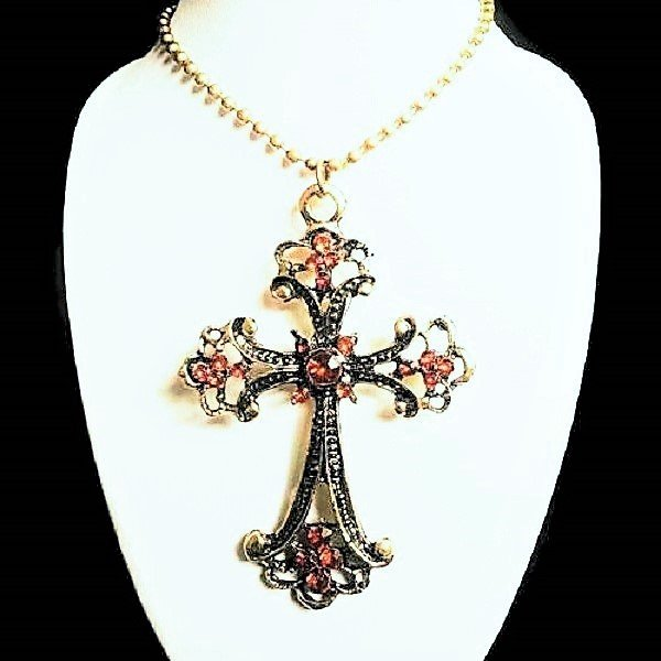 Vintage Rhinestone Cross Retro Bronze Long Pendant sweater Chain Crucifix Necklace