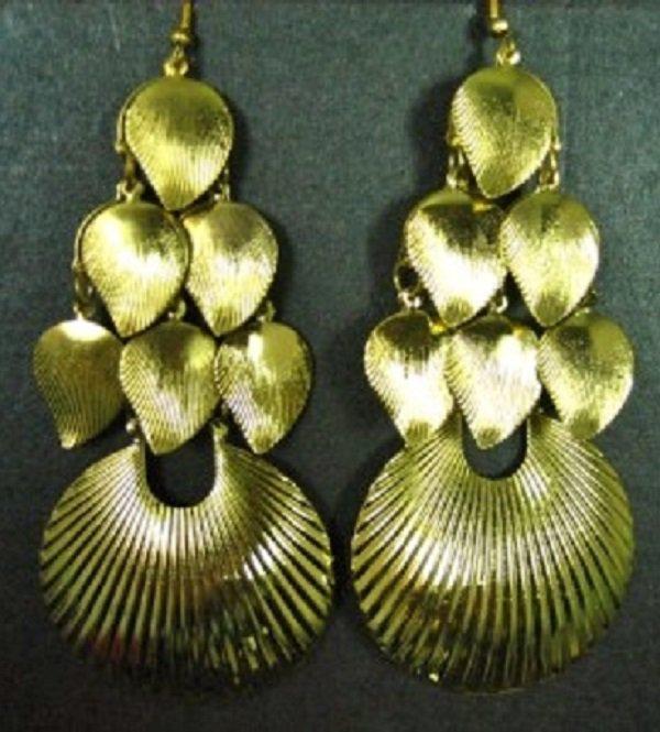 Beautiful Exotic Bohemian Gold Plated Leaf Fan Shell Chandelier Drop Dangle Earrings