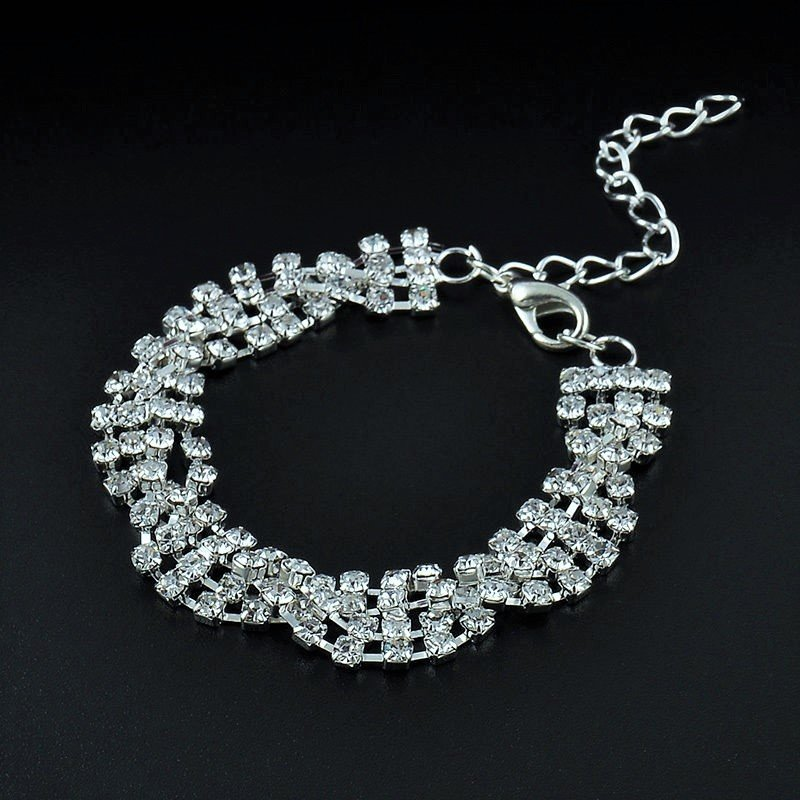 Luxury Delicate Classical Full Shining Rhinestone Crystal Twisted Silver Plated Chain Bracelet