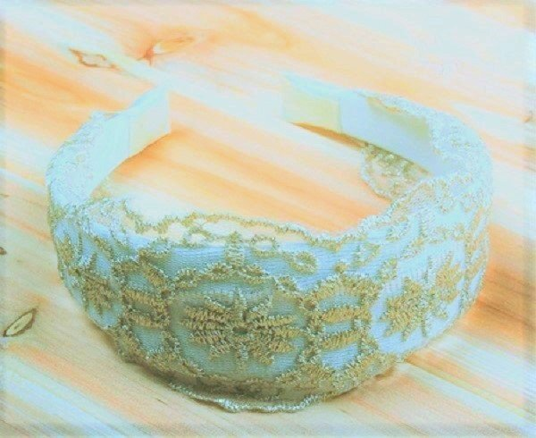 Elegant White Vintage Wide Hoop Daisy Sunflower Embroidery Lace Headband