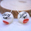 Betsey Johnson Marilyn Monroe Red Lip Collection XOX Faux Pearl Kiss Stud Earrings