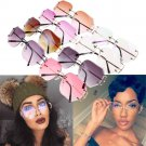 One Oversized Round Rimless Sunglasses Women Fashion Optics Metal Frame Eyewear