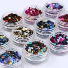 12PCS Ultrathin Nail Art Sequins UV Gel Colorful Shiny Round Decoration DIY Tips
