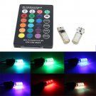Remote Control Multi Color Light T10 W5W 5050 12SMD RGB LED Car Wedge Bulbs