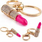 Fun Cute Crystal Rhinestone Lipstick Keyring Charm Bag Purse Car Key Chain Gift