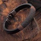 Cool Surfer Mens Vintage Hemp Wrap Leather Wristband Bracelet Cuff Black Brown