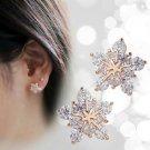 new 1Pair Fashion Women Crystal Rhinestone Ear Stud Snow Flower Earrings Jewelry