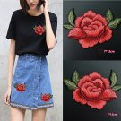 Fashion 2Pc Red Rose Flower Sewing Iron On Patch Embroidery Cloth DIY Badge New