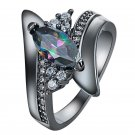Luxury Women Gun Black Crystal Silver Plated Band Party Wedding Ring Size6 7 8 9