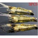 Lot 3PCS Fun Kinds of Fishing Lures Crankbaits Hooks Minnow Shrimp Baits Tackle