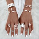 8Pcs/Set Women Vintage Antique Silver Knuckle Midi Mid Finger Rings Boho Gifts