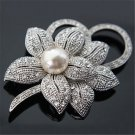 Fashion Crystal Pearl Wedding Bridal Bouquet Silver Flower Charm Brooch Pin Gift