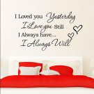 """""""I Love You"""" Quote DIY Home Decor Removable Decal Room Wall Sticker Vinyl Art FT"""