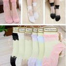 Beautiful Retro Ultrathin Transparent Elegant Crystal Lace Elastic Short Socks