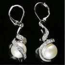 1Pair Fashion Women Girls Pearl Dangle Crystal Earrings Silver Plated Ear stud
