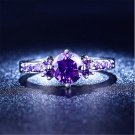 Women's Fashion Gold Plated Rings Amethyst Purple Crystal Wedding Jewelry Rings