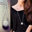 Long Women's Charm Sweater Silver Hollow Ball Pearl Pendant Chain Necklaces Gift