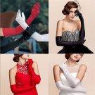 Elegant Lady Long Wedding Bridal Opera Evening Party Costume Satin Gloves FT25