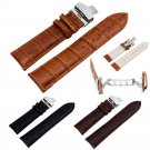 Stainless Steel Butterfly Buckle Genuine Leather Watch Band Strap 18-22mm