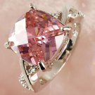 Luxury Pink & White Gemstone Jewelry Women Gift Silver Ring Gift New Size 6 7 8