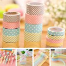 5 Rolls Decorative Colorful Washi Tape Sticky Paper Masking Tape Adhesive Sturdy
