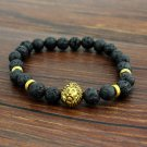 Cool Punk Mens Natural Black Lava Stone Gold Lion Beaded Charm Lucky Bracelet FT