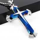 Cool Gift Unisex's Men Blue Silver Stainless Steel Chain Cross Pendant Necklace