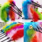 Newest Cat Kitten Pet Teaser Turkey Feather Activity Toy Wire Chaser Wand Toys
