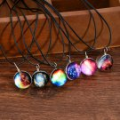 Fashion Stars Short Glass Galaxy Pattern Necklaces Glass Pendant Necklace Gift