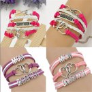 MOM&DAUGHTER Best Friend Leather Multi Layer Bracelet.Love and Heart Bracelet FT