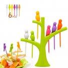 Fun Fruit Forks Food Pick Fruit Dessert Cake Tree Bird Fruit Fork Tool Random FT