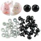 100X Lot 6-20mm Black Plastic Safety Eyes For Teddy Bear/Doll/Toy Animal/Felting