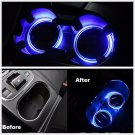 2X Solar Cup Holder Bottom Pad LED Light Cover Trim Atmosphere Lamp For Car FT
