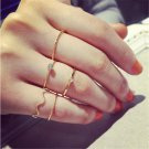 5PCS Fashion Urban Plain Crystal Above Knuckle Band Mid Finger Midi Ring Set FT