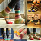 1 Pair Unisex Stripe Cotton Socks Design Multi-Color Dress Women's Men's Socks