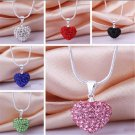 Fashion Sweet Crystal Heart Silver Plated Pendant Chain Necklace Jewelry Gift FT