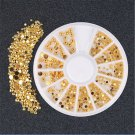 3 Sizes Mixed Gold Color DIY Decals 3D Rhinestone Nail Art Stickers Decor Beauty