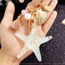 1pcs Starfish Pearl Shell Key Chain Crystal Pendant Keyring Keychain Keyfob FT