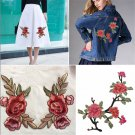 DIY Rose Flower Applique Badge Embroidered Floral Collar Sew Patch Dress Craft