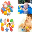 13 Fun Cute Different Squeaky Floating Animals Ocean Rubber Baby Bath Toys Kids